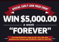 Free online sweepstakes entry to win thousands of dollars a week 'Forever'. You could become a winner of a PCH weekly cash sweepstakes. Enter now. Instant Win Sweepstakes, Online Sweepstakes, Cash Prize, Win Prizes, Win For Life, Winner Announcement, Publisher Clearing House, Winning Numbers, Win Money