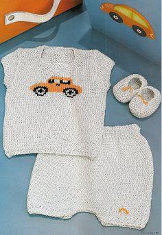iKnitts: Patron para tejer un conjunto de bebé con autito en jackard