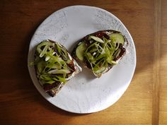 #thingsontoast cream cheese, sun dried tomatoes, cucumber, green onion.