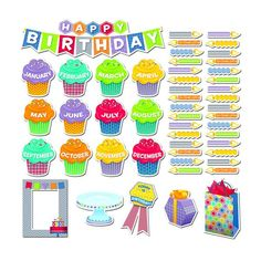 Celebrate birthdays with the 54 pieces in this stylish and colorful set. Use the birthday badge, photo frame, and present pieces to make the day extra special. Create a bulletin board display to highlight the birthdays in each month. Birthday Bulletin Boards, Church Bulletin Boards, Bulletin Board Display, Birthday Board, Classroom Birthday, Superhero Classroom, Birthday Badge, 1st Birthday Banners, Happy Birthday