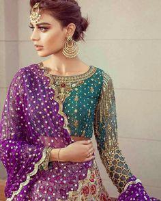 "Annus Abrar Bridal Wear Collection 2017 More: ""Papillon"" Luxury Pret Wear Collection By Rungrez Pakistani Wedding Outfits, Pakistani Wedding Dresses, Indian Dresses, Indian Outfits, Wedding Attire, Ethnic Fashion, Asian Fashion, Women's Fashion, Mehndi Dress"