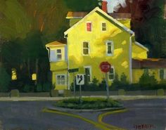 """Yellow house at sunset"" - Original Fine Art for Sale - © Kathy Weber"