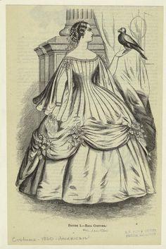 Ballgown, Jan 1860 US, Harper's Magazine