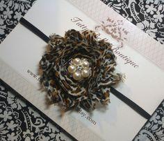 Bebê Faixa de Cabelo, Leopard Flor Headband, cabelo do bebê Arcos, gasto flor headbands, Faixa de recém-nascido