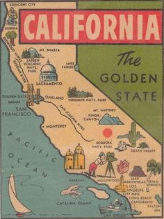 Vintage California map.  More California Dreaming:  http://www.zazzle.com/thenaughtynook/gifts?cg=196724005075615895&rf=238479042766184488  http://www.cafepress.com/thenaughtynook/9990953