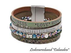 Damen Echtleder Armband-LOVE-HOPE-HAPPINESS Happiness, Love, Bracelets, Happy, Leather, Jewelry, Steel, Get Tan, Blue