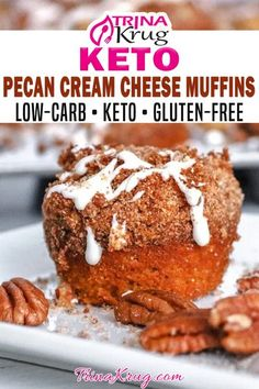 The last keto muffin you'll ever need to make! These keto cream cheese muffins are packed with sweetness, pecans, and goodness! This keto muffin is a perfect year-round breakfast treat, but it has pumpkin in it which makes it jump to the top of the list of fall foods! I mean, l eat pumpkin year-round because it is so healthy and nutritious, but I know there is a small group that saves it for fall! | Trina Krug @trinakrug #easyketobreakfast #ketosnack #ketofallrecipes visit trinakrug.com Easy Gluten Free Desserts, Free Keto Recipes, Pecan Recipes, Sugar Free Desserts, Low Carb Desserts, Fall Recipes, Low Carb Recipes, Dessert Recipes, Breakfast Recipes