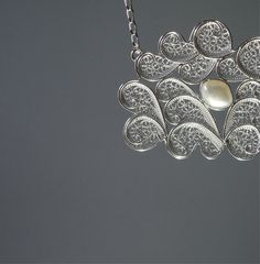 Filigree necklace with pearl. Sterling by SusanaTeixeiraJewels