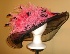 Black and Pink Hat Occasion Hats, Sinamay Hats, Bridal Hat, Cocktail Hat, Church Hats, Kentucky Derby Hats, Dramatic Look, Pink Hat, Wedding Hats