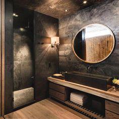 Room Decor Ideas Bathroom Ideas Luxury Bathroom Black Bathroom Design Luxury Interior Design 2 Room Decor Ideas Bathroom Ideas Luxury Bathroom Black B. Stone Bathroom, Modern Bathroom, Small Bathroom, Bathroom Black, Master Bathroom, Master Baths, Wood In Bathroom, Masculine Bathroom, Tuscan Bathroom