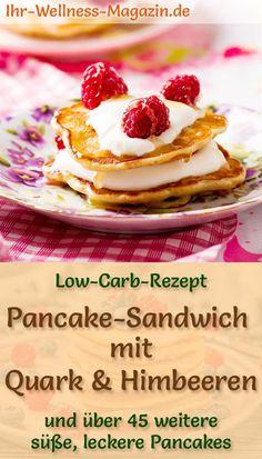 Fluffige Pancake-Sandwich mit Quark und Himbeeren: Einfaches Low-Carb-Rezept für gesunde, süße Pfannkuchen mit Buttermilch und Mandelmehl - kalorienarme, leichte Eierkuchen mit Quark-Füllung - zuckerfrei, schnell gemacht und fruchtig lecker als Frühstück, Brunch, kleine Mahlzeit oder Nachtisch ... #pfannkuchen #pancakerezepte