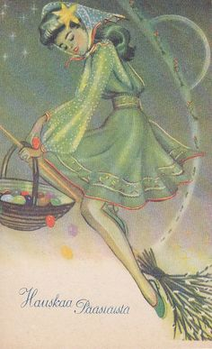 A witch delivering easter eggs.....