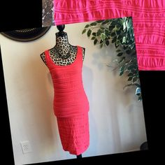Hot Pink Ribbed Bodycon Dress Excellent Condition!! Fits Like A Glove And Contours To Your Body Perfect!!! - Stretchy Material The Dress Is Form Fitted All The Way Down It Just Doesn't Show On My Mannequin Dresses Midi