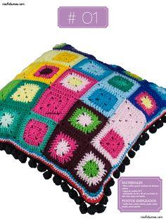 Crochet Almohadones #01 Free Pattern, Blanket, Knitting, Tejidos, Pillow Design, Dots, Tricot, Breien, Sewing Patterns Free
