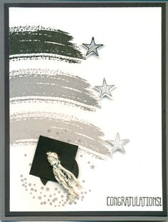 Stamp' Up! ... handmade graduation card ... Work of Art, Celebrate Today. Star, square and circle punches. ... shades of gray ....
