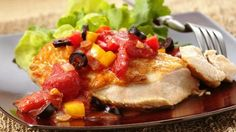Looking for a new way to serve chicken or fish? Try topping with this sweet pepper and olive tomato sauce.
