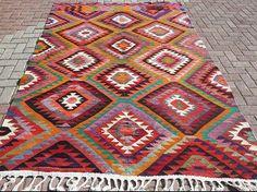 Beautiful Antique Anatolian kilim bohemian rug by waterandjewel, $779.00