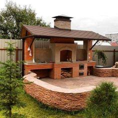 New outdoor patio bbq pergolas ideas Backyard Kitchen, Summer Kitchen, Outdoor Kitchen Design, Backyard Patio, Backyard Ideas, Pergola, Gazebo, Design Barbecue, Patio Edging