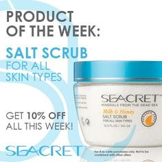 #Productoftheweek #Bath and #Bodycare:  Exfoliate and nourish your skin with the power of Dead Sea minerals and salts  #Seacret #Special #Salt #Scrub #Skincare