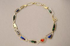 Necklace | Barbara Christie : 18ct yellow gold, fire opal, boulder opal, black opal