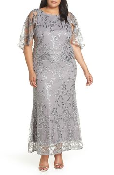 Brianna Sequin Embroidered Capelet Gown (Plus Size) Plus Size Gowns Formal, Plus Size Dresses, Special Dresses, Special Occasion Dresses, Modest Dresses, Formal Dresses, Mother Of Bride Outfits, Mom Dress, A Line Gown