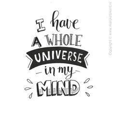 Ik heb een heel universum in mijn gedachten...
