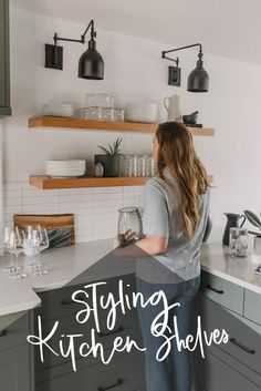 How to Style Kitchen Open Shelves - Lemon Thistle - If you love the trend of open shelves in the kitchen but don't know how to make them look amazing - Low Shelves, Kitchen Shelves, Open Shelving, Diy Kitchen, Kitchen Decor, Kitchen Design, Open Kitchen, Floating Shelves, Kitchen Ideas