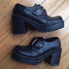 vtg 90s black chunky buckle platform shoes by LilacandBlueVintage