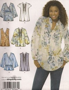 Misses Woven Tops pattern, Simplicity 3786