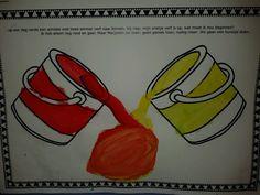 Mengen met de schilder in het kleurenwinkeltje rood + geel = oranje