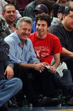 Two-time best-actor winner Dustin Hoffman (Kramer vs. Kramer, 1979; Rain Man, 1988) sits courtside at a New York Knicks game with his son Jake.