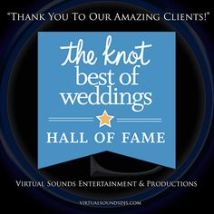 """Wow! We Have Been Inducted Into The Best of Weddings """"Hall of Fame"""" from The Knot. Virtual Sounds Would Love To Thank All Of Our Amazing Bride and Grooms! We Feel Honored To Accept This Award and Be a Part Of Your Special Day. #theknot #halloffame #virtualsounds #award #bestofweddings #dj #weddingdj #weddingaward #bride #groom #wedding #ceremony #bestdj # http://ift.tt/22Yyiqn"""