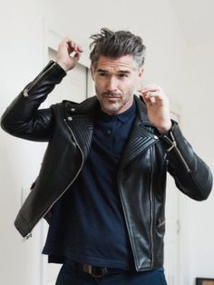 Urban Street Style, Black Leather Moto Jacket, Men's Fall Winter Fashion.