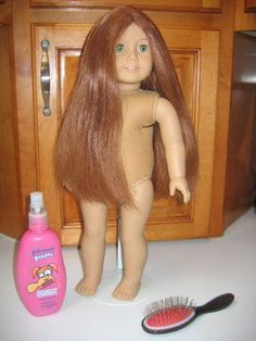 Hair Care for your American Girl Doll.  How to straighten, downy dunk and wash your dolls hair.