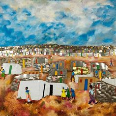 Fortune Sitole's mixed media work is created from recycled materials and his work highlights the communities in townships of South Africa. South African Artists, October 19, Mixed Media Collage, New Artists, Teaching Art, Recycled Materials, Love Art, Don't Forget, Highlights