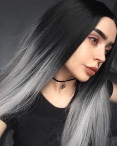 Long Black To Grey Ombre Straight Synthetic Lace Front Wig-Long Black To Grey Ombre Straight Synthetic Lace Front Wig Schwarz grau - Black And Silver Hair, Grey Brown Hair, Grey Hair Wig, Silver Ombre Hair, Ombré Hair, Ombre Hair Color, Dark Hair, Hair Wigs, Black Grey Ombre Hair