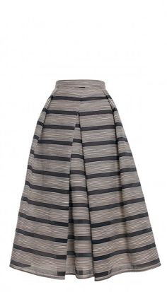 Pleats and neutral stripes make the Raffia Organza Stripe Skirt an easy piece to pair with vibrant tops for a sunny and sophisticated summer evening outfit.
