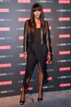 7 February Naomi Campbell wore a cropped leather jacket over a black dress for the Yamamay party in Milan.   - HarpersBAZAAR.co.uk