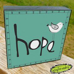 Christian Art  Roman Words  Hope art block size5x5 by amyleeweeks, $20.00