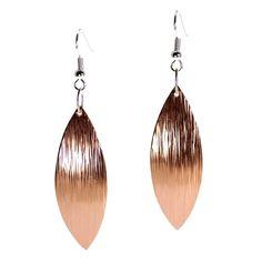 Copper Leaf Earrings Copper Drop Earrings Rose Gold by johnsbrana