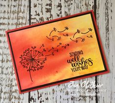 Thinking Stamping: As You See It 187 - Design Team Card Wish You Well, Dandelion Wish, Brusho, Floral Card, Stampin Up Catalog, Get Well Cards, Flower Cards, Diy Cards, Stampin Up Cards