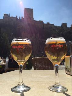 Cerveza Alhambra con vistas a las Alhambra, Grananda. Cervezas Alhambra es una compañía cervecera granadina, fundada en 1925 y que actualmente forma parte del Grupo Mahou-San Miguel. Granada, Spanish Beer, Alcoholic Drinks, Beverages, 3, Wine, Shape, San Miguel, Group