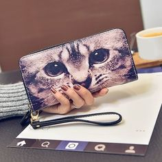 9.34$  Watch here - http://dia0p.justgood.pw/go.php?t=204162901 - Zipper PU Leather Cat Printed Wallet