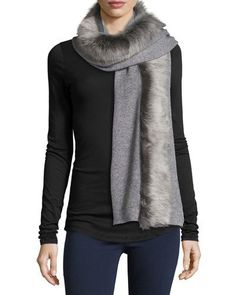 Ugg+Luxe+Wool+Blend+Scarf+W+Toscana+Fur+Trim+Gray+|+Neckwear+and+Accessory