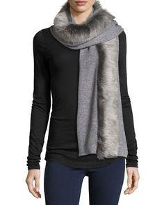 D17SW UGG Luxe Wool-Blend Scarf w/ Toscana Fur Trim, Gray