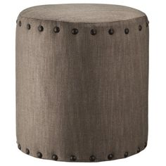 Accent Furniture Ottoman with Nailheads - Tan