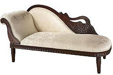 """Victorian Swan Fainting Chaise Lounge sofa was a mainstay in the most opulent English and Parisian parlors of the early 19th century. Sometimes referred to as a Meridienne, our richly hand-rubbed hard-wood piece boasts a finely aged dark walnut finish. Upholstered in a beautifully textured """"Old World"""" Italian tone on tone cream brocade fabric, the hand-carved hardwood back boasts a embellished swan motif."""