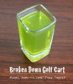 The Broken Down Golf Cart is a shooter cocktail that's very light on the alcohol. Even with the lime juice cutting the sweetness of the Midori and amaretto, this is still a pretty sweet drink. The first thing I taste is the melon from the Midori, which is quickly followed by both sharp notes from the lime and the subtle nutty flavors from the amaretto. http://mixthatdrink.com/broken-down-golf-cart/
