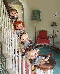 """""""It's ever so naughty but ever so fun, to slide down the banisters one by one. Legs in the air and knickers on show , faster and faster down we go!"""" ✨✨The Little Mischiefs Up To No Good available worldwide at www.dollytreasures.com✨✨ #sisters #fun #dollphotography"""