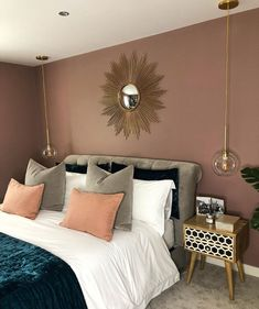 Girl Room: 75 Girl Room Ideas with Photos - Home Fashion Trend Dusty Pink Bedroom, Pink Master Bedroom, Pink Bedroom Walls, Bedroom Wall Colors, Pink Bedrooms, Bedroom Color Schemes, Room Ideas Bedroom, Home Decor Bedroom, Farrow And Ball Bedroom